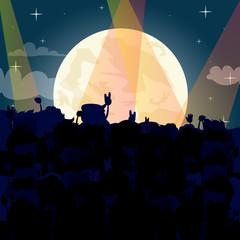 Crowd at concert - summer music festival - cartoon vector illustration.