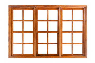 Big wooden window isolated on white background