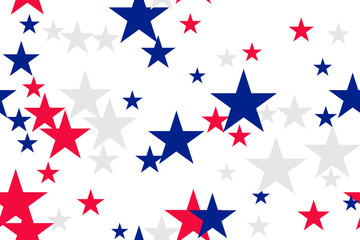 Seamless pattern with blue, red, white stars