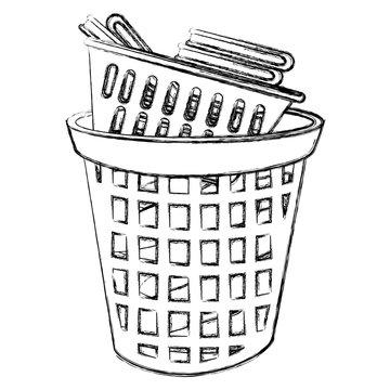 laundry service plastic bin vector illustration design