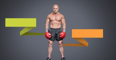 Male boxer with blank infographic chart panels