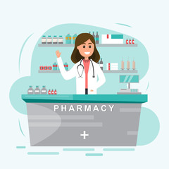 pharmacy with nurse in counter. drugstore cartoon character design vector illustration