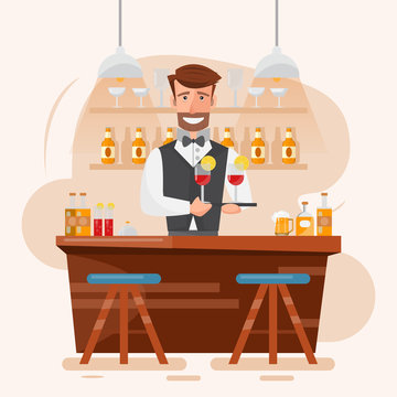smart man bartender holding cocktail and beverage at a night bar.