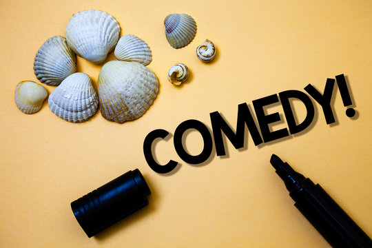 Conceptual hand writing showing Comedy Call. Business photo text Fun Humor Satire Sitcom Hilarity Joking Entertainment Laughing Yellow background shadow open marker shells beach memory memories.