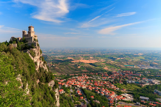 San Marino city view. Fortress of San Marino on the rock.