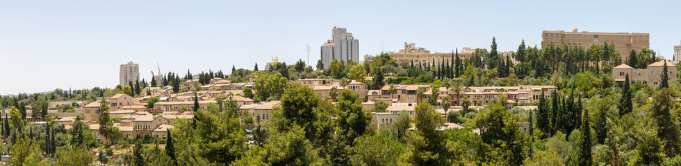 Panorama of first quarters of Jerusalem outside old city walls