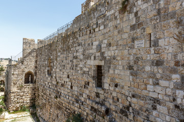 Inner view of wall of old city Jerusalem
