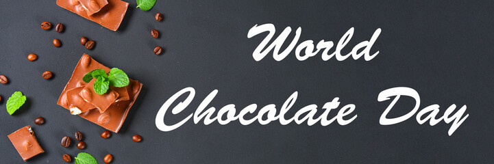 chocolate with almonds on dark grey background. July 11 is the day of chocolate.