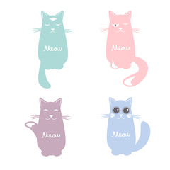 Vector set of cartoon images of cute cats