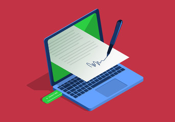 Isometric illustration on the theme of digital signature with laptop.