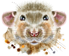Watercolor portrait of rat with splashes