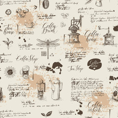 Vector seamless pattern on tea and coffee theme in retro style. Various coffee symbols, dragonfly, blots and inscriptions on a background of old manuscript. Can be used as wallpaper or wrapping paper