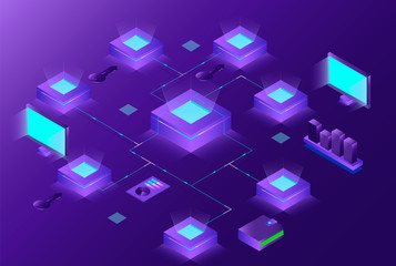 Blockchain and Cryptocurrency isometric composition with people. e-commerce, bitcoin trading, analysts and managers working on crypto start up ultraviolet background. Vector 3d isometric illustration.