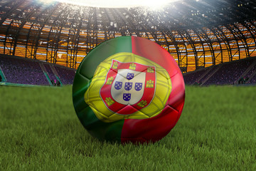 Portugal football team ball on big stadium background. Portugal Team competition concept. Portugal flag on ball team tournament in Russia. Sport competition on green grass background. 3d rendering