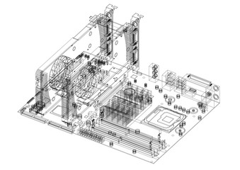 Motherboard and Graphic Cards Architect Blueprint - isolated