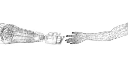 Robotic And Human Hands Design - Architect Blueprint - isolated