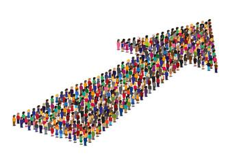 foule - flèche - direction - objectif - orientation - concept - groupe - ensemble - union - équipe