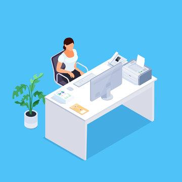Secretary. Isometric concept office life.