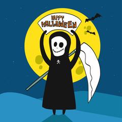 The Death happy Halloween and full moon cartoon vector illustration