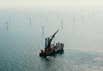 Construction work on Amalia windfarm, IJmuiden, Noord-Holland, Netherlands