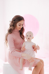 Photo of beautiful young woman with little daughter celebrate her birthday