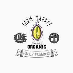 Bio sticker and eco products. Durian web element, Isolated Vector.