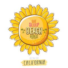 Eat sleep beach repeat vector cartoon concept illustration or summer poster. vector funky cartoon sun label with funny summer slogan for print on tee. Greeting card from California coast or beach