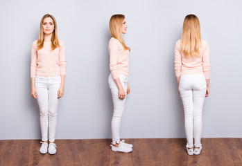 Collage from three sides of charming pretty modern trendy confident woman in white pants sweater sneakers standing on wooden floor over grey background