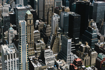 Aerial view of skyscrapers of Manhattan, New York City, USA