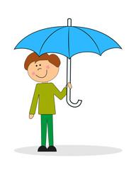 Мальчик с зонтом. Вектор