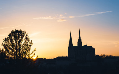 Poster de jardin Monument Chartres Cathedral, also called Cathedral of Our Lady of Chartres at sunset in France