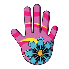 hamsa hand with beautiful flowers design over white background, vector illustration