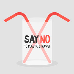 Say no to plastic straws. Ecology problems. Flat editable vector illustration, clip art