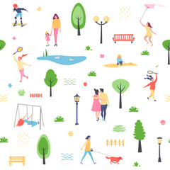 Seamless background, pattern. Summer pattern with characters people, walking park