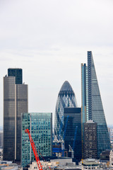 Fotobehang London LONDON, UK - JULY 19, 2014: City of London one of the leading centers of global finance. Skyline on a beautiful summer day.