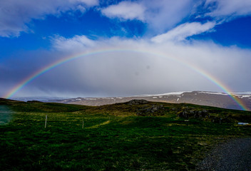 Beautiful rainbow in Borgarfjordur Eystri in Iceland