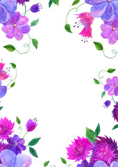 Watercolor floral rectangular frame