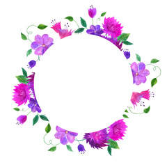 Round floral frame. Watercolor hand drawn illustration