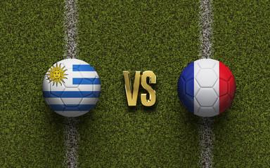 Uruguay versus France soccer quarter final match. 3D Rendering