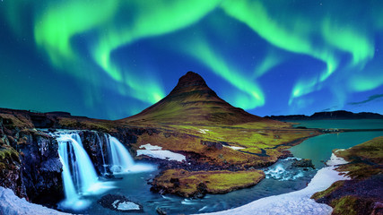 Aluminium Prints Northern lights Northern Light, Aurora borealis at Kirkjufell in Iceland. Kirkjufell mountains in winter.
