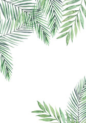 Watercolor illustration. Hello Summer. Botanical frame with palm leaves and branches. Tropical card. Floral Design elements. Perfect for wedding invitations, greeting cards, blogs, posters