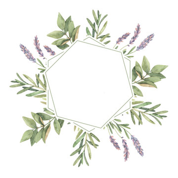 Watercolor illustration. Herbal Label with botanical green leaves, herbs and branches. Eco. Floral Design elements. Perfect for wedding invitations, greeting cards, blogs, prints, postcards