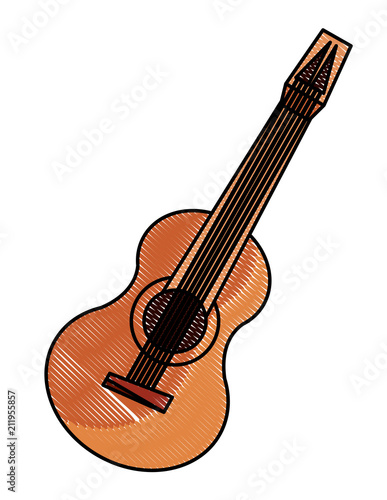 Acoustic Guitar Icon Over White Background Vector Illustration
