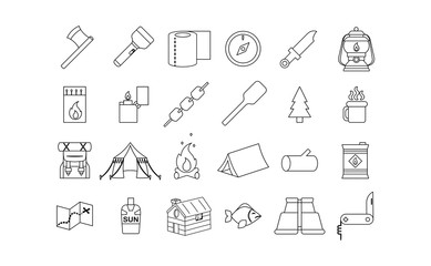 vector emoji set camping vacation icon isolated
