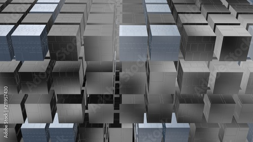 3d geometry techno cubes  Chrome cubes  3d rendering  Front