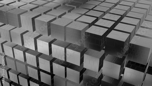 3d geometry techno cubes  Chrome cubes  3d rendering  Angled