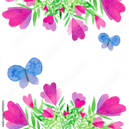 Composition With Pink Flowers And Hearts And Blue Butterflies On A