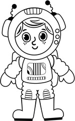 Black and white astronaut boy. Vector illustration.