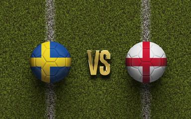 England versus Sweden soccer quarter final match. 3D Rendering