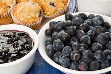 Fresh Blueberries with Muffins and Preserves
